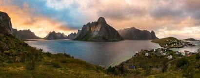 Lofoten Evening Atmosphere, Moskenes, Reine, Norway Royalty Free Stock Photo