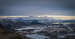 Norway fishing village. Lofoten fishing village panorama - Norway Royalty Free Stock Photos