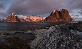 Lofoten fjord, Norway. Beautiful place on Lofoten Island, Hamnoy, Norway Royalty Free Stock Image