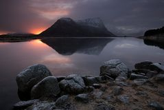 Lofoten fjord, Norwegia Zdjęcia Stock