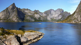 Lofoten Fjord Panorama Norway Stock Photography