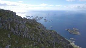 Lofoten Henningsvær islands aerial reveal stock video footage