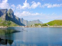 Lofoten Island. Landscape, village at the shore Royalty Free Stock Photo