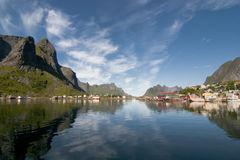 Lofoten Island Norway Fjord and village view from the boat Stock Photos