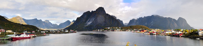 Lofoten Islands. A big Panorama of the Lofoten Islands in Norway Royalty Free Stock Images