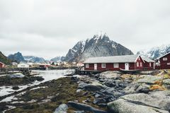 Scenic aerial view of fishing town Reine on Lofoten islands, Nor royalty free stock photos