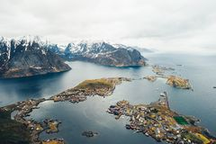 Scenic aerial view of fishing town Reine on Lofoten islands, Nor royalty free stock image