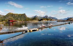 Norway, Lofoten Islands, Coast Landscape Mountains Fjords Royalty Free Stock Photos