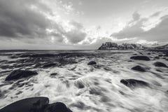 Lofoten islands. Beautiful Norway spring landscape. Black-white photo. Stock Photos