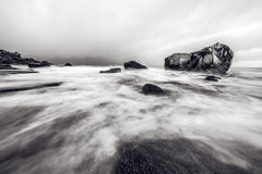 Lofoten islands. Beautiful Norway spring landscape. Black-white photo. Stock Photo