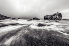 Lofoten islands. Beautiful Norway spring landscape. Black-white photo. Royalty Free Stock Photography