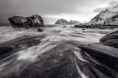 Lofoten islands. Beautiful Norway spring landscape. Black-white photo. Stock Photography