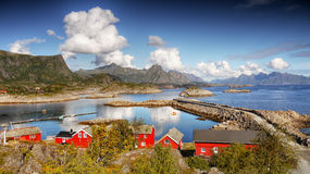 Lofoten Islands  Norway. Red rorbu-huts ( famous tourist destination ) in the Kabelvag village. Lofoten islands, Norway Stock Image