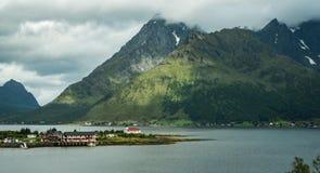 Lofoten islands Norway scenic landscape view of coastal village. royalty free stock photos