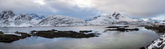 Lofoten islands panorama during winter time Royalty Free Stock Images