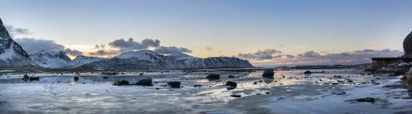Lofoten islands panorama during winter time Stock Image