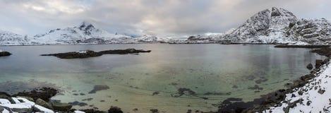Lofoten islands panorama during winter time Stock Photos