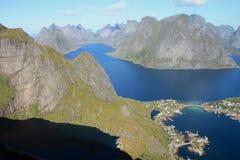 Lofoten Islands seen from top of  Reinebringen Royalty Free Stock Photography