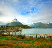 Lofoten landscape. By a cloudy and windy day. Sight on the bay of reine, a small fish village Stock Photo