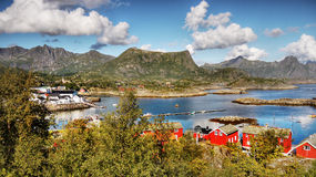 Lofoten Landscape, Kabelvag village Royalty Free Stock Photo