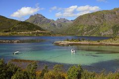 Lofoten landscapes. Norwegian landscapes, mountains and blue fjords Royalty Free Stock Photos