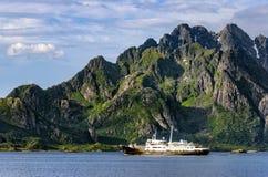 Lofoten - Norway coastline with Ship Royalty Free Stock Photos
