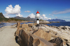 Lofoten, Norway. Lighthouse on the pier in the village Kabelvag Stock Photography