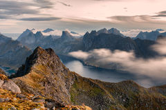 Lofoten Norway Nature Mountains clouds from above. Mountain landscape in the lofoten norway panoramic view Stock Image