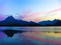 Lofoten Norway sunset landscape Royalty Free Stock Image