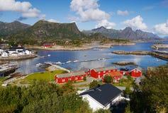 Lofoten, Norway. View of fishing set Kabelvag on the Lofoten Islands in Norway Stock Images