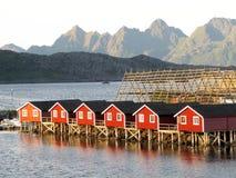 Lofoten norwegian sea landscape Svolvaer. Norwegian Lofoten town Svolvaer rorbuer Stock Photography