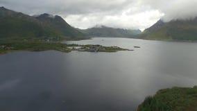 Lofoten peninsula and fjord aerial stock video
