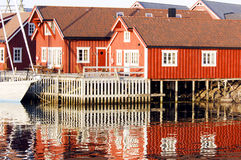 Red houses Lofoten Stock Photography