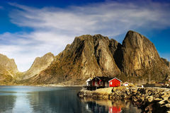 Lofoten Reine, νορβηγικό τοπίο ακτών στοκ φωτογραφία με δικαίωμα ελεύθερης χρήσης