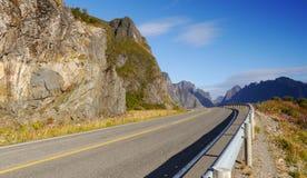 Lofoten road. Typical road on Norwegian Lofoten Islands Royalty Free Stock Image