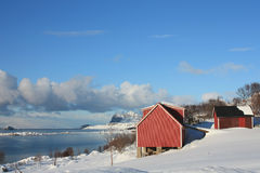 Lofoten's barn on the fjord. Barn in the small village of Sund, facing the Napp fjord royalty free stock photos
