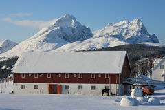 Lofoten's farm. Farm of Lofoten islands under the Himmeltind mountain stock photo