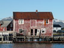 Lofotens old loft. Old loft of Henningsvaer, Lofoten islands royalty free stock photo