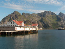 Lofoten's old fish factory. The old fish factory of Henningsvae i Lofoten, Norwegian arctic ocean royalty free stock photos