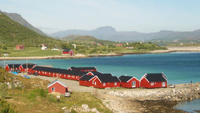 Lofoten's rorbuer village. Typical fishermen's village of Lofoten islands, Norwegian polar circle royalty free stock images