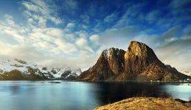 Lofoten-Schnee früh morgens Lizenzfreies Stockbild