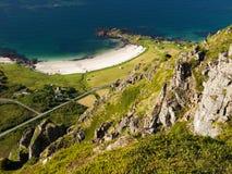Lofoten shore with beach stock photo