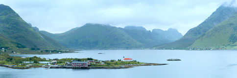 Lofoten summer coast panorama (Norway). Royalty Free Stock Photography
