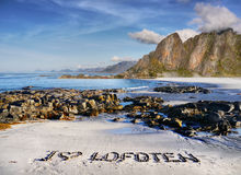 Lofoten, Travel Motif. Travel Lofoten motif - I love Lofoten, hand-written on white sandy beach Stock Photography