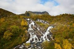 Lofoten vattenfall på Moskenesoya, Lofoten, Norge Fotografering för Bildbyråer