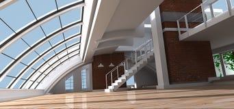 Loft. 3D rendering of a very modern and artistic loft Stock Photos