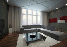 Loft apartment interior. 3D rendering of loft apartment interior with big grey sofa Stock Photos
