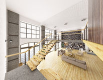 Loft apartment interior 3d rendering Stock Photos