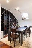 Loft apartment interior, dining area stock images