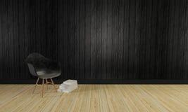 Loft background-3d i prosta żywa ściana pokoju i drewnianej odpłacamy się Fotografia Stock